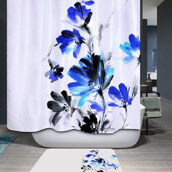 $15.03 Ink Painting Floral Water Resistant Mildewproof Shower Curtain