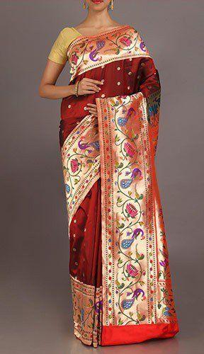 Rupa Deep Maroon Wedding Collection Pure Paithani Saree
