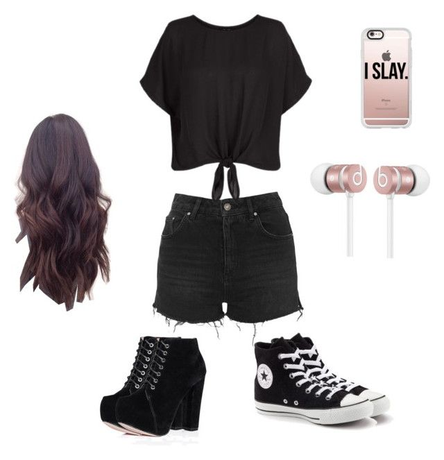 """""""Daily Wear (Day 1)"""" by kookiechu ❤ liked on Polyvore featuring Topshop, New Look, Converse, SpyLoveBuy, Casetify and Beats by Dr. Dre"""
