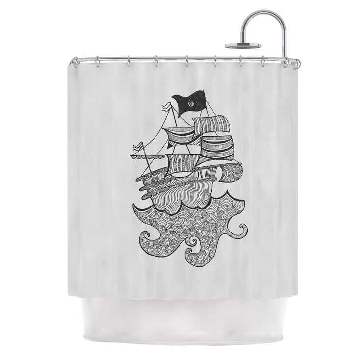 "Kess InHouse Belinda Gilles ""Ships Ahoy"" Gray Nautical Shower Curtain"