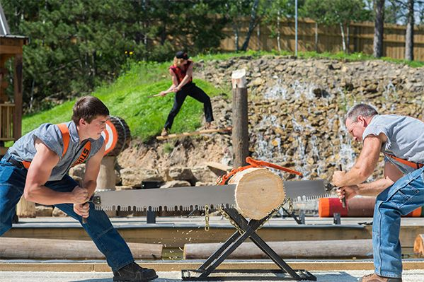 Paul Bunyan's Northwoods Lumberjack Show presents a blend of age old lumberjack competitions and extreme sports entertainment.