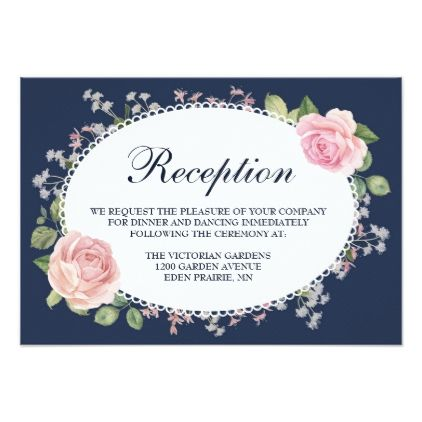 Elegant Floral Midnight Blue Wedding Reception Card - floral style flower flowers stylish diy personalize