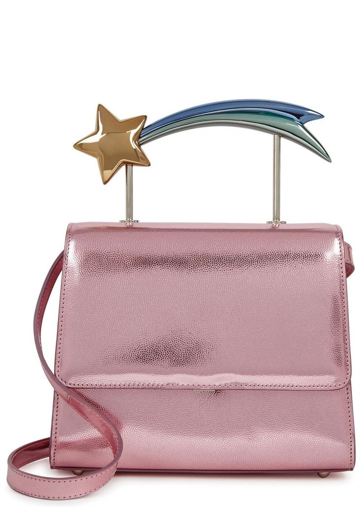Exclusive to Harvey Nichols Ming Raymetallic pink leather box bag  Shooting star tophandle, detachable shoulder strap,silver hardware, designer plaque, feet, internal patch pocket, fully lined  Concealed clasp fastening at flap front  Presented in a designer-stamped box with a dust bag. www.italianist.com