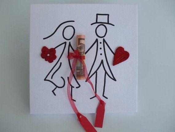 Geldgeschenk Keilrahmen Hochzeit Mit Gemaltem Brautpaar Hochzeit Geschenk Geld Gutschein Verpacken Hochzeit Geldgeschenke Basteln