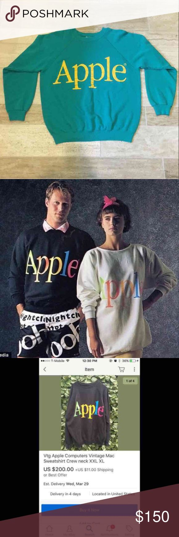 Vintage Apple / Mac Sweatshirt - Extremely Rare I have 2 of these! Other is pink and white. Currently listed on my page.   Very rare and unique Mac/Apple Computer sweatshirt.  Did LOTS of Google-ing and could not find any other pics with sweatshirt in same colors or font. Pics I posted were as close as I got.    My nephew who is a Mac/Apple freak talked with some bigwigs at Apple who confirmed its at least 30+ years old.  I'll ship same day!   80's 90's  Nike Adidas Pink PINK Tops…