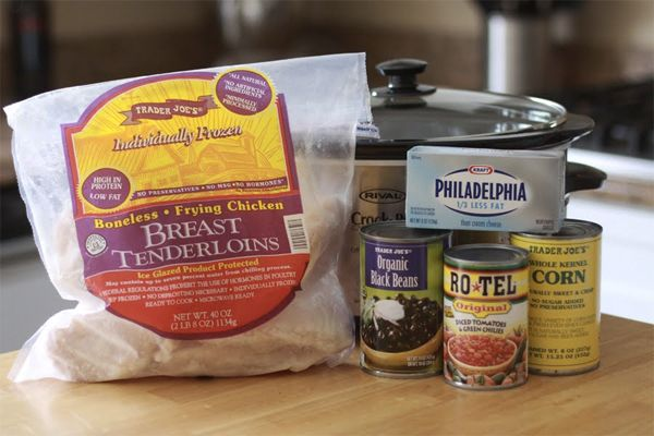 Easiest Dinner Ever (aka. Cream Cheese Crockpot Chicken) 1 bag of frozen Chicken Breast Tenderloins (2.5-3lb bag) 8 oz block of cream cheese 1 can of Black Beans, drained/rinsed. 1 can of Corn, drained. 1 can of Rotel - Can serve on rice or in tortiallas!