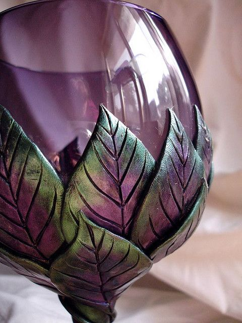 Purple Goblet with Green and Purple Leaves Detail