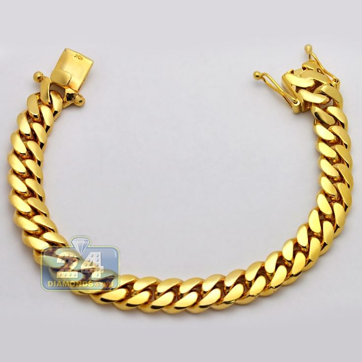 Solid 10k Yellow Gold Miami Cuban Link Mens Bracelet 11mm 9 Bracelets For Men Mens Bracelet Gold