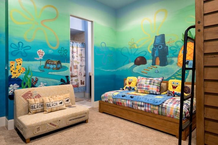 Kids Will Feel Like One Of Spongebob S Neighbors In This Themed Bedroom With A Mural Of Bikini