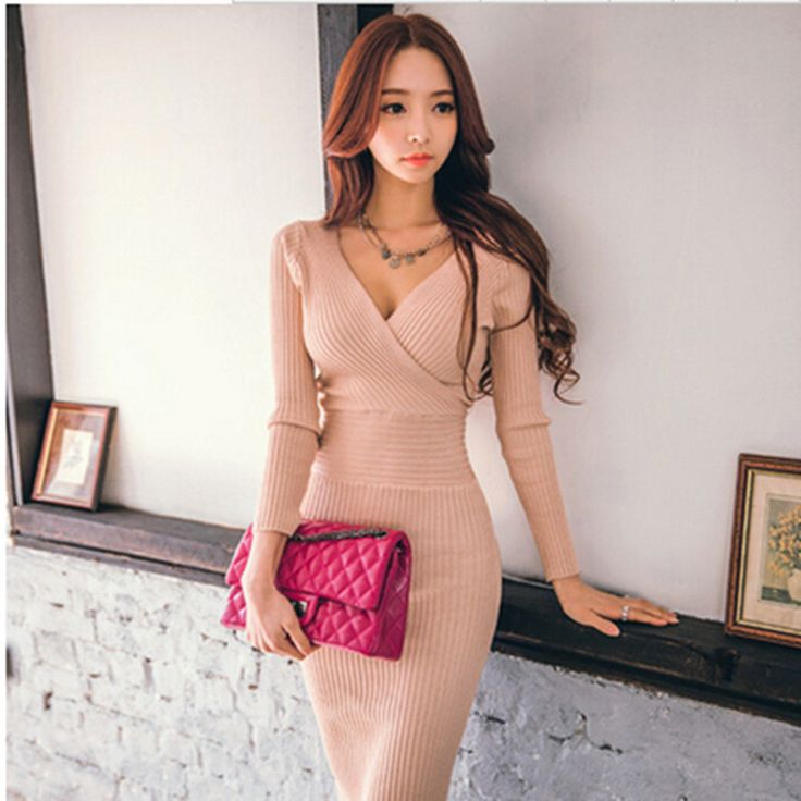 Free shipping 2016 New Autumn Women high quality elastic knitting  dresses fashion Long sleeve  V-Neck Slim Pencil dress
