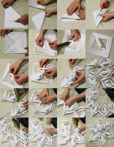 technique originale de pliage en papier origami - un flocon de neige remarquable