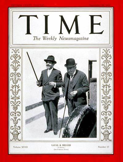 TIME Magazine Cover: Pierre Laval & Aristide Briand - Sep. 28, 1931 - Pierre Laval - Aristide Briand - France