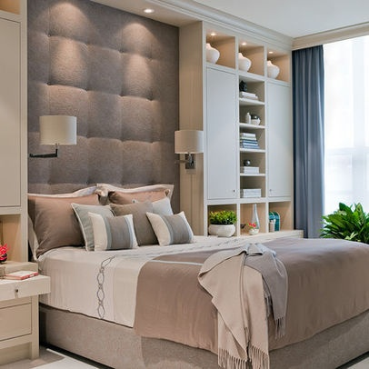 Contemporary Bedroom. Colors, headboard & lighting.