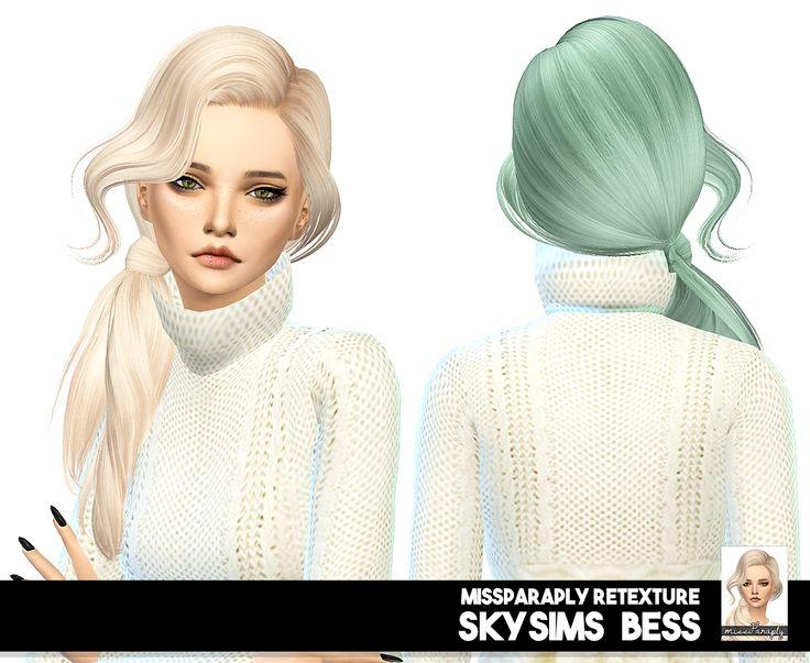 Miss Paraply: Skysims Bess hair retextured - Sims 4 Hairs…