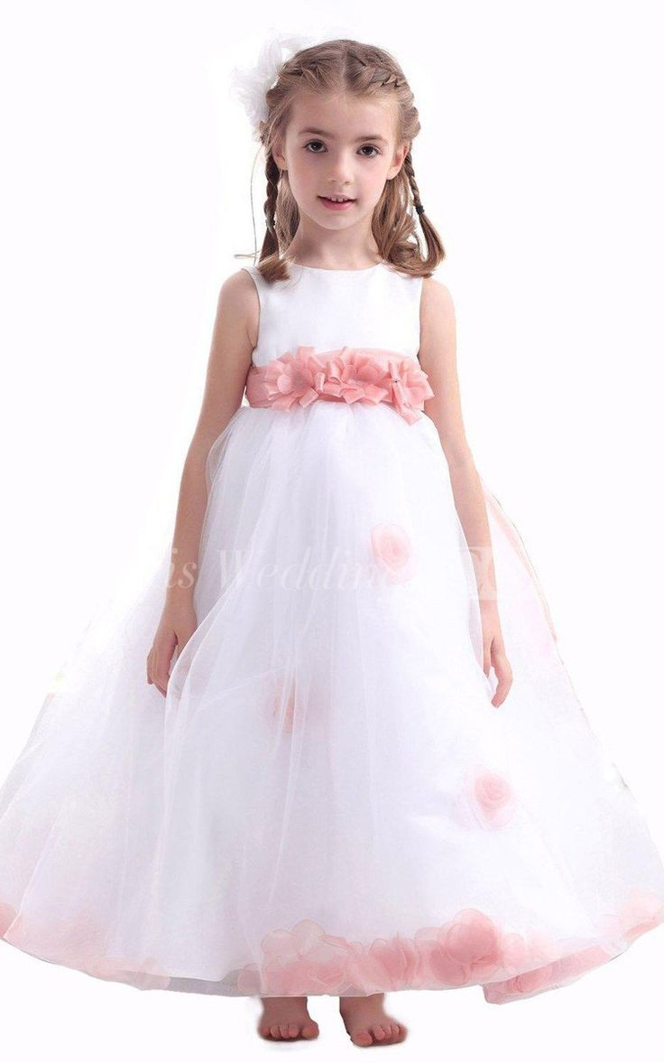 Sleeveless A Line Flower Girl Dress With Flowers and Illusion. Pink and White Dress for Girls, Flower Dresses for Girls, Dresses for Girls. Girls Wedding Dress 2016 #flowergril #DorisWedding.com