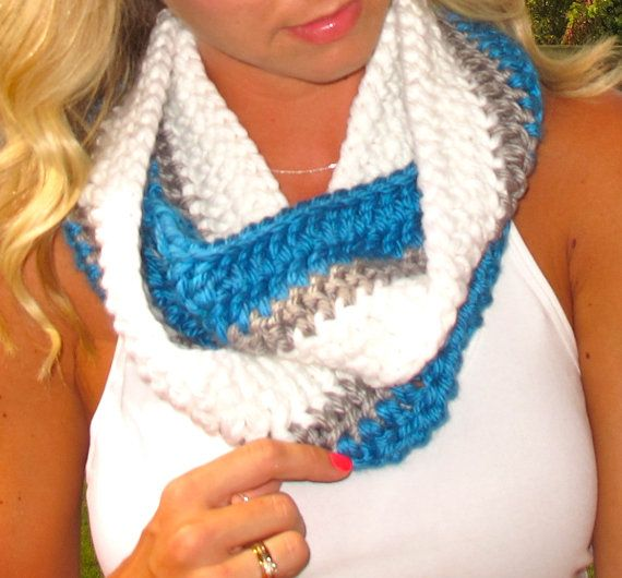 Detroit Lions Inspired Crochet Infinity Scarf  by DOTSDesignsCo