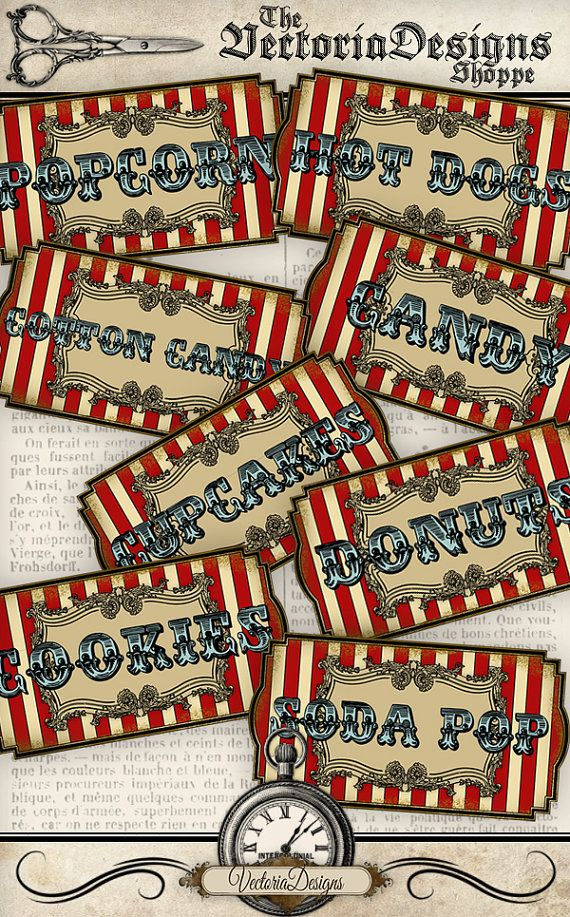Printable Circus Food Labels - These vintage style circus labels are a great asset to a Circus themed party. The colors are very vibrant but still have a vintage feel about them.