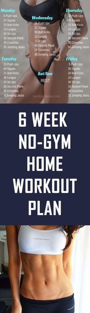6 Week No-Gym Home Workout Plan – #Home #motivatio…
