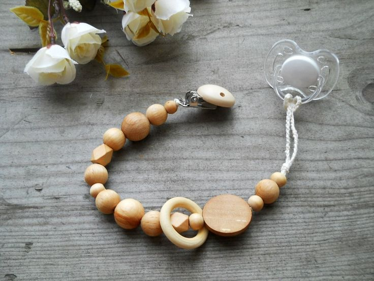 eco-friendly pacifier clip natural wooden beads and wooden teething toy ring natural Handmade Pacifier Clip Crochet wood pacifier holder - pinned by pin4etsy.com