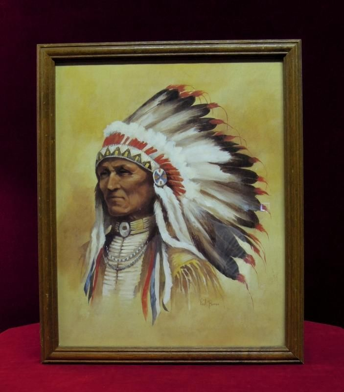 Indian Chief Vintage >> Native American Art, Paul Boren, Chief with Headdress | Art, Native art, Native american art