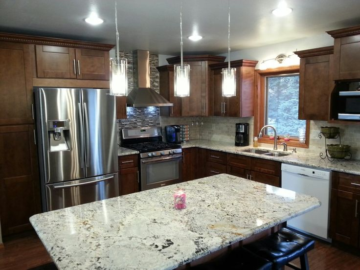 Customer finished kitchen with sienna shaker cabinets and for Autumn shaker kitchen cabinets
