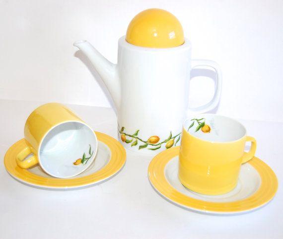 Porsgrund Citron Tea Set or Coffee Service Vintage by Curiopolis