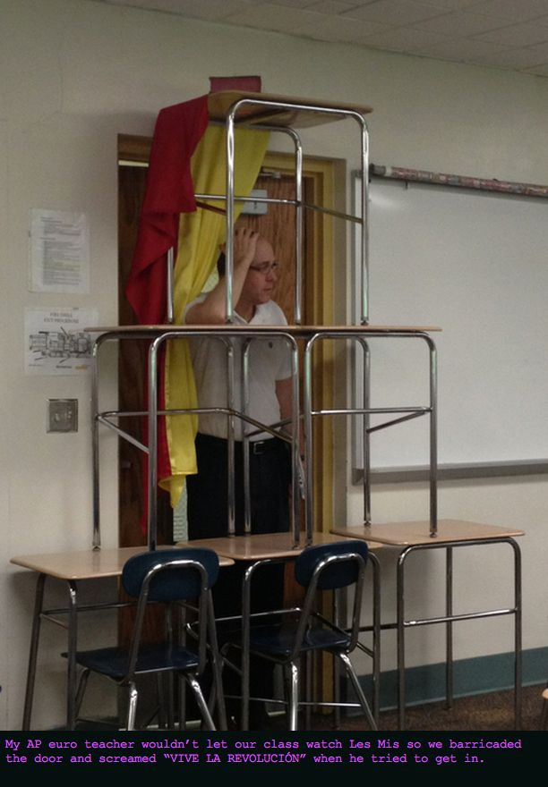 Barricading your classroom from your teacher after he wouldn't let you watch Les Mis in class / The 23 Greatest Pranks Pulled In 2013