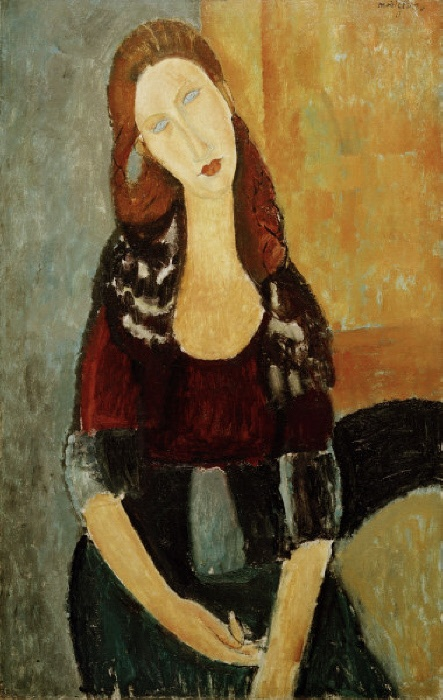 'Jeanne Hébuterne assise' (Jeanne Hébuterne, seated), 1918. (Jeanne Hébuterne, Modigliani's lover from 1927, died 1920). Oil on canvas, 92 x 60.3cm. Private Collection.