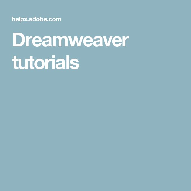 Dreamweaver tutorials
