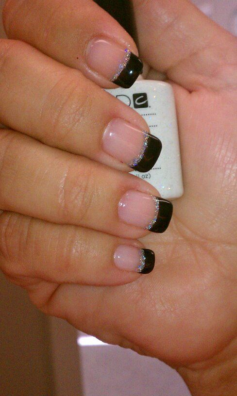 Sparkling Black French Tip Nails done with Shellac
