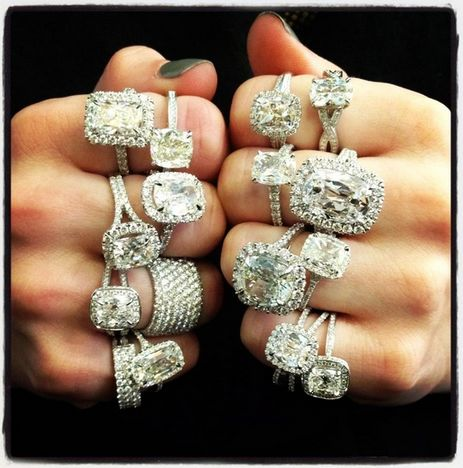 diamonds are a girls best friend rings on every finger - Pawn Shop Wedding Rings