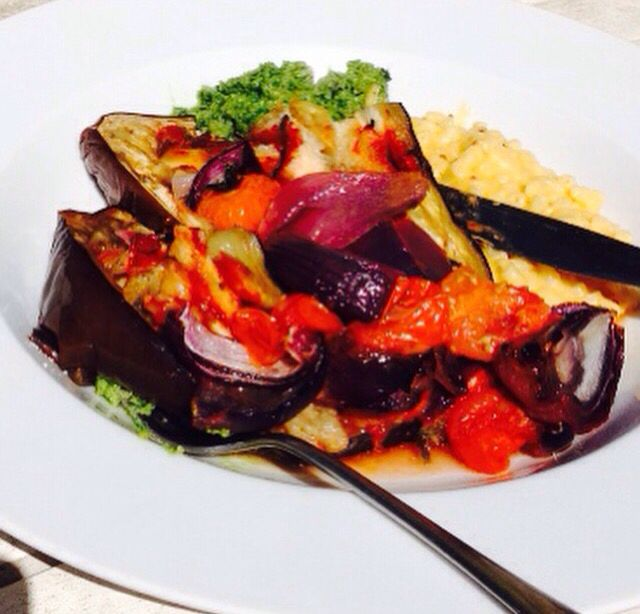 Slow roast aubergine with garden sage, olive oil, garlic and tomato purées and salt. Slow roast cherry toms and red onion, homemade pesto and my toddler requested Mac cheese. It worked.