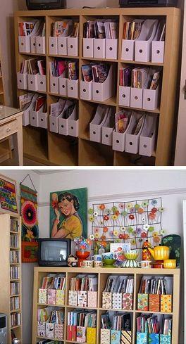 Magazine holders spice up a shelf! ~ Mod Podge Rocks!
