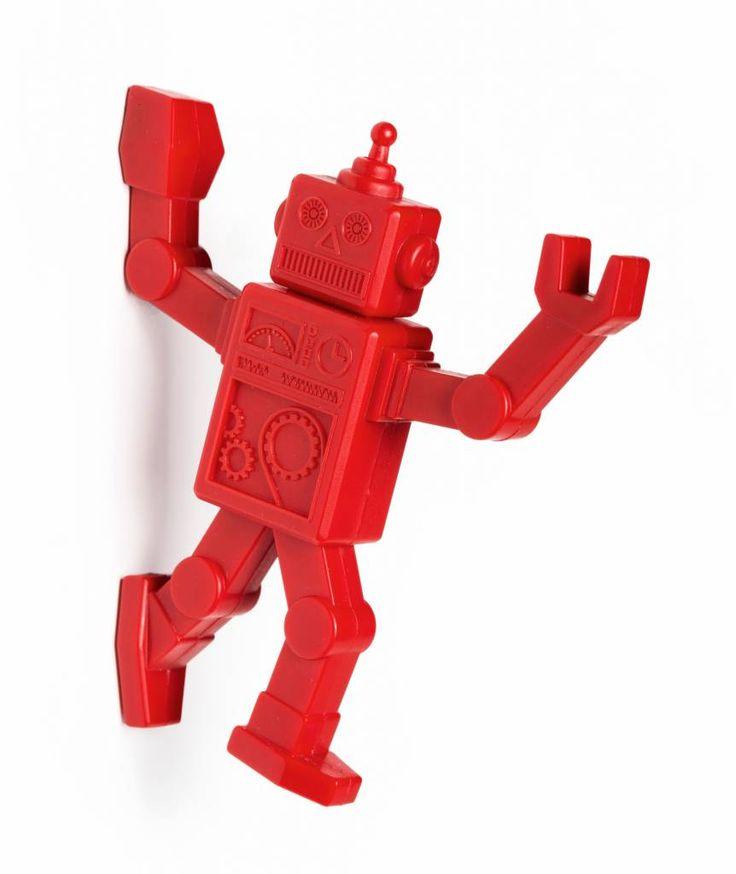 Mooie, handige rode robot. Bevestig de haak op de koelkast of aan de muur met een schroef. Super leuke, stoere haak voor in de kinderkamer, badkamer, speelkamer