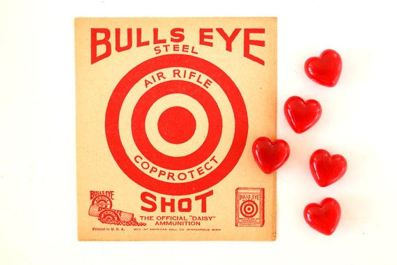 Vintage daisy bull 39 s eye shot target paper shooting Red home decor target