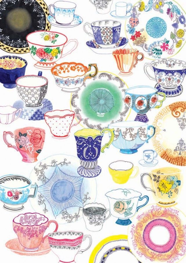 Tea Cups illustrated by Hennie Haworth