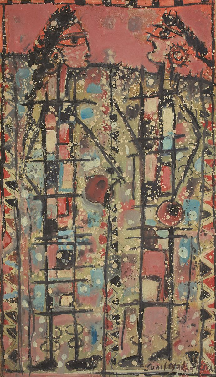 Sunil Madhav Sen Medium: Gouache on paper pasted on mount board Year: early 1960s Size: 26.5 x 15.2 in.
