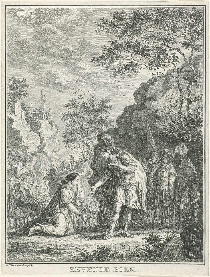 Simon Fokke | Ontmoeting van David en Abigaïl, Simon Fokke, 1766 | Abigaïl knielt met een zakdoek in haar hand voor haar toekomstige echtgenoot David. Op zijn beurt buigt David met uitgestoken hand naar haar toe. Achter David wachten soldaten bij een rots, achter Abigaïl staat een groep mensen met bepakte ezels. De prent maakt deel uit van een serie over het verhaal van David en Saul.