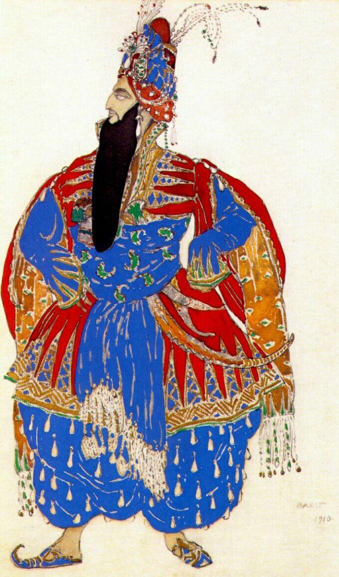Léon Bakst - Ballets Russes - Costumes - Esquisses et Croquis - Shah Shahriar - Shéhérazade - 1910