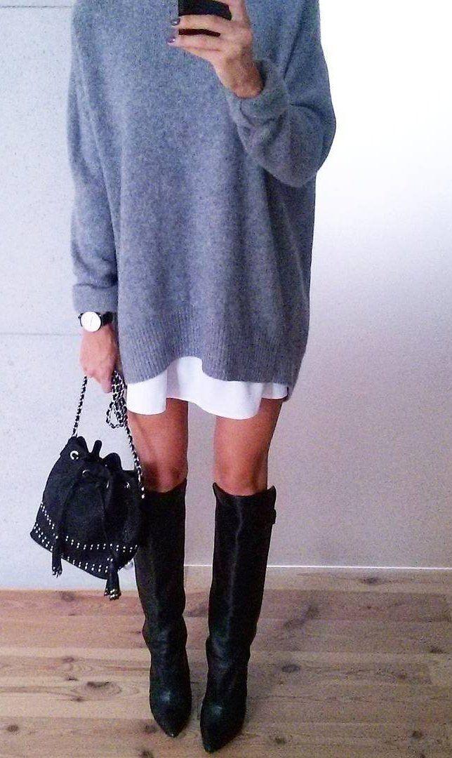 Sweater Dress // Knee Length Boots                                                                             Source