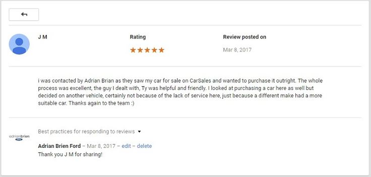 "Google Business Page Review Of Adrian Brien Ford By J M  This month's featured customer review is courtesy of J M who recently posted this review onto the Adrian Brien Ford Google Business Page.  ""I was contacted by Adrian Brian as they saw my car for sale on CarSales and wanted to purchase it outright. The whole process was excellent, the guy I dealt with, Ty was helpful and friendly. I looked at purchasing a car here as well but decided on another vehicle, certainly not because of the lack…"