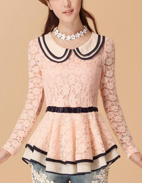 Long Sleeved Lace Peplum Top OMG LOVE!!!