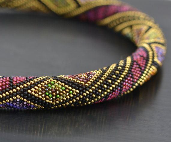 Night confetti - Bead Crochet Necklace Black Red 24K Gold Geometric Modern Beadwork Jewelry Multicolors Luxury Made to order
