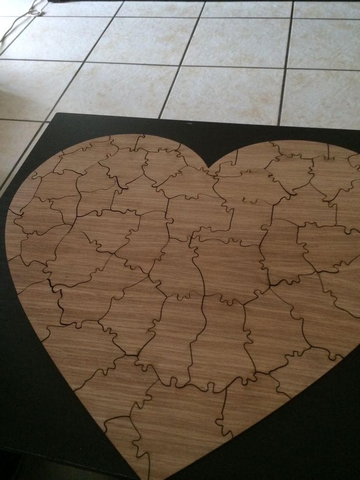 Heart Puzzle Piece Wedding guestbook. It was really fun putting this together after the wedding :)