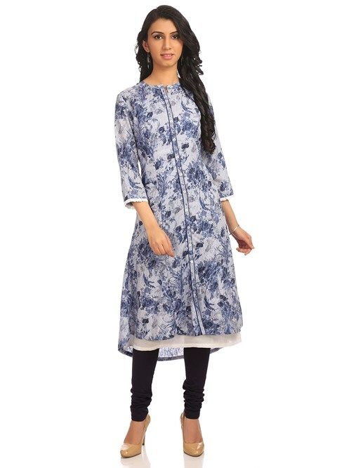 Buy Online Blue Poly Cotton Flared Kurta for Women & Girls at Best Prices in Biba India