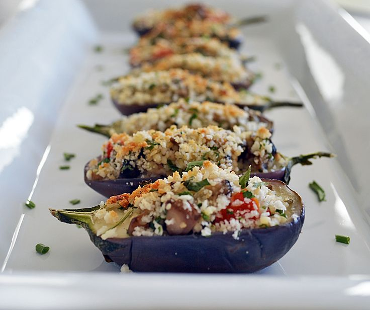 Mushroom Cous Cous Stuffed Mini Eggplant with a Sour Cream Shallot Sauce