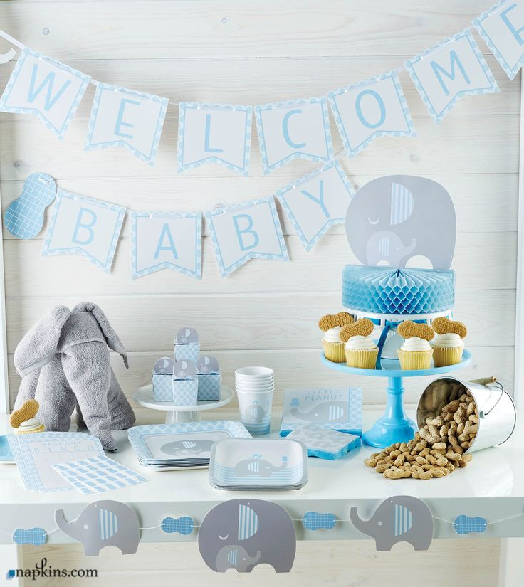 Our beautiful, elegant collection of Little Peanut Boy Baby Shower is designed to be appropriate for baby showers or birthday parties. This is a stylish, popular theme for a boy's baby shower celebration. All the products are decorated in blue, gray, and white while highlighting cute designs of a blue peanut, a blue bird, and elephants with blue-striped ears. #babyshower
