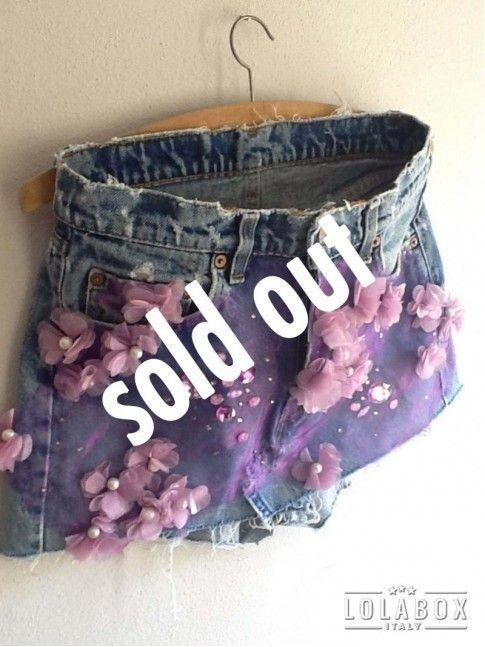 Gonna Mini Jeans Levi's Perle e Fiori Vintage Recycled LOLA DARLING