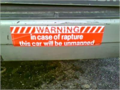 Funny car bumper sticker rapture jpg 400x300