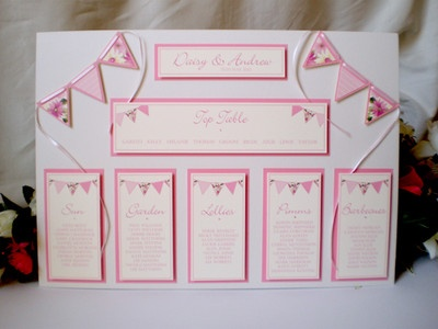 A3 Personalised 3-D Die Cut Wedding Table Plan - Any Colour - Bunting, Summer | eBay